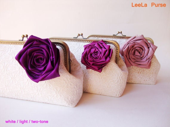 Personalized Bridesmaid Gifts Clutch with Set of 3 White Lace Clutches and Silk Rose Flower brooches -  5% off included