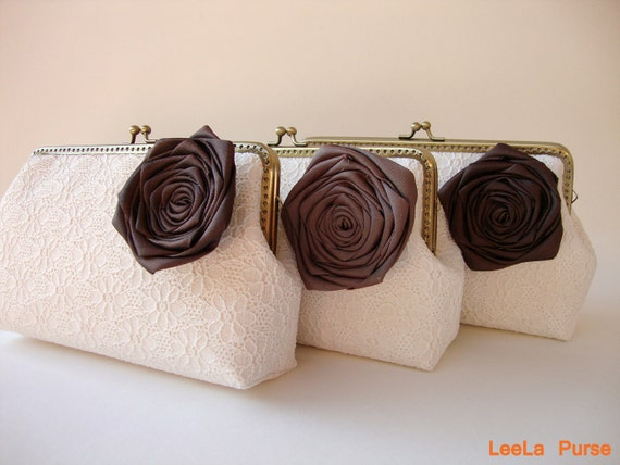 Custom bridesmaid gift with Set of 3 botanical Wedding Clutches or You Choose Lining, Flower, and Personalization