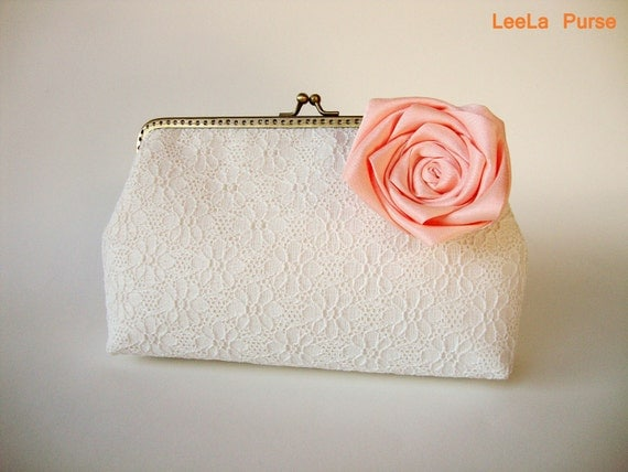 Lace Clutch  for bride to be, vintage shabby chic inspired wedding with peach rose flower