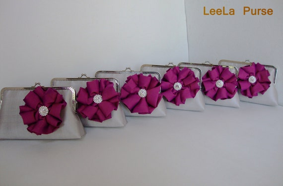 Bridesmaid gift idea - Set of 6 silver grey  silk clutch with fuchsia -monogram the inside for the perfect  gift for summer wedding