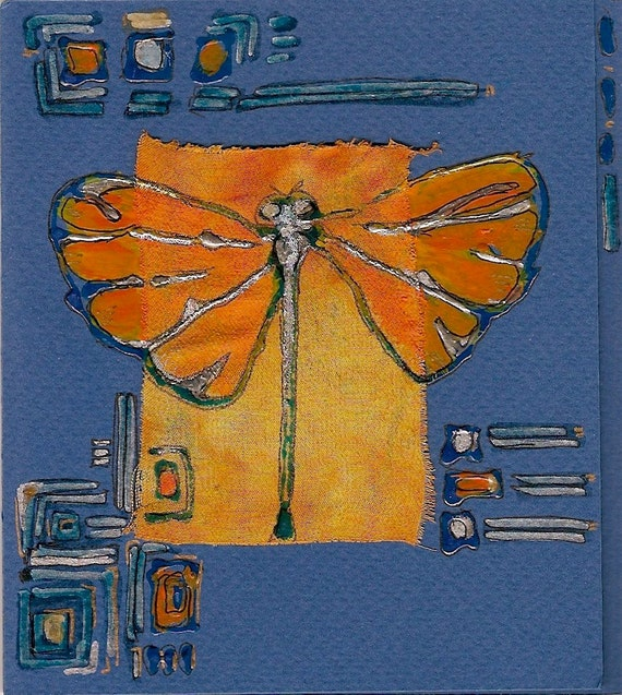 Orange dragonfly on a dark blue background - blank greeting card