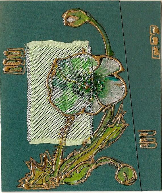 Emerald green poppy - blank greeting card