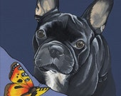 French Bulldog with Butterfly Painting (21X30cm)
