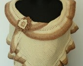 Handmade, Knitted Stoles , Shawl, Ivory Scarf, Stole, Romantic, Glamour, Stoles with knitted brooch