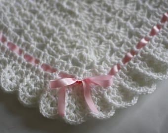 Crochet Baby Blanket/Afghan White Pink, Baby Granny Square Crochet Blanket, Baby Shower Gift, Christening Baptism