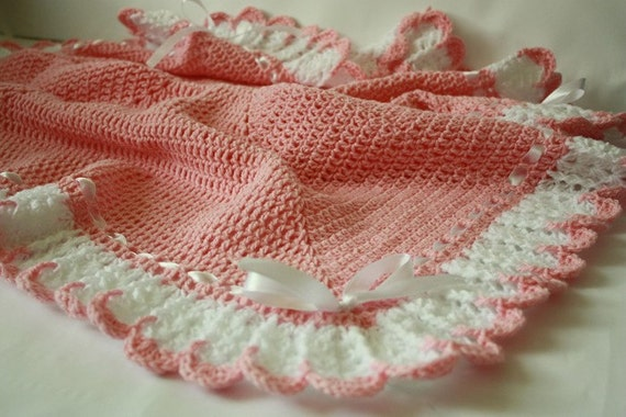 Crochet Baby Girl Blanket / Afghan White Pink , Christening, Baptism, Baby Shower Gift