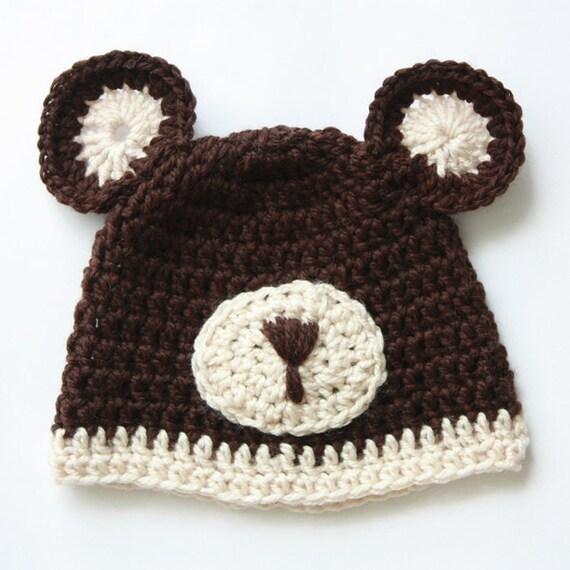 Crochet Baby Hat Beanie, Teddy Bear Crochet Hat, 0-3 Months, Baby Boy, Baby Girl