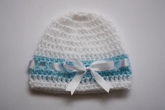Crochet Baby Hat Beanie White Blue,  Baptism Christening Gift