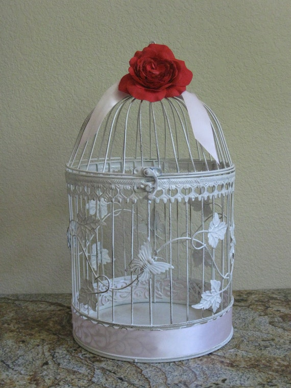 large vintage style round bird cage card holder by kraftycounsel. Black Bedroom Furniture Sets. Home Design Ideas
