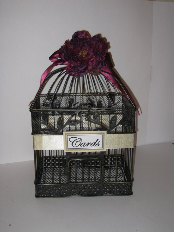 Beautiful large vintage bird cage card holder or centerpiece