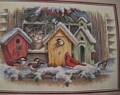 Christmas Winter Cross Stitch Kit Windowsill Birdhouses by Dimensions
