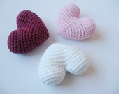 3 Big Crochet Hearts - Set Dark Pink, Pink, White