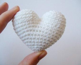 crochet heart white valentine's day love gift