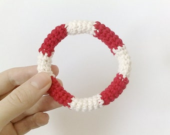 crochet bracelet LIFESAVER - bangle nautical red white