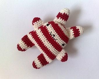 super kawaii crochet bunny red & cream stripes