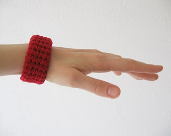 chunky crochet bracelet / bangle / cuff - red