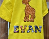 Personalized Giraffe T-Shirt Customized for a Boy or a Girl