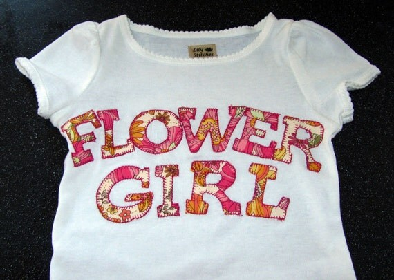 Flower Girl T-Shirt or Onesie Choose your own fabric to coordinate with your special day