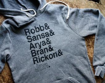 Game of Thrones // Stark Siblings Eco-Fleece Hoodie // Hooded Pullover Starks Sweatshirt