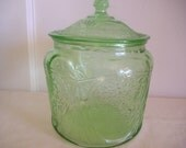 Vintage Cookie Jar Depression Glass Royal Lace Green-TREASURY ITEM - DebsCollectibles