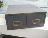 1950's Two Drawer Metal Card File Gray Industrial Mid-Century