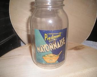 1937 Piedmont Mayonnaise Jar TREASURY ITEM
