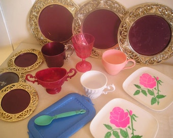 1960's Plastic Toy Dishes 15 Piece Lot