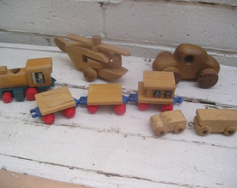 Vintage Wooden Toy Lot Assorted Car Train Helicopter