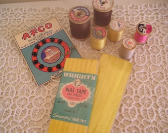 Vintage Sewing Notions Thread Wood Spools Bias Tape Metal Snaps Mid-Century