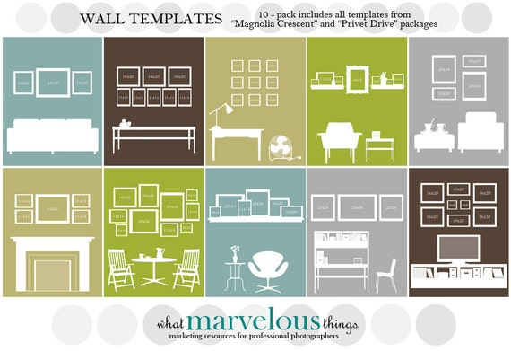 Wall display template 10 pack - Photo wall display template ...