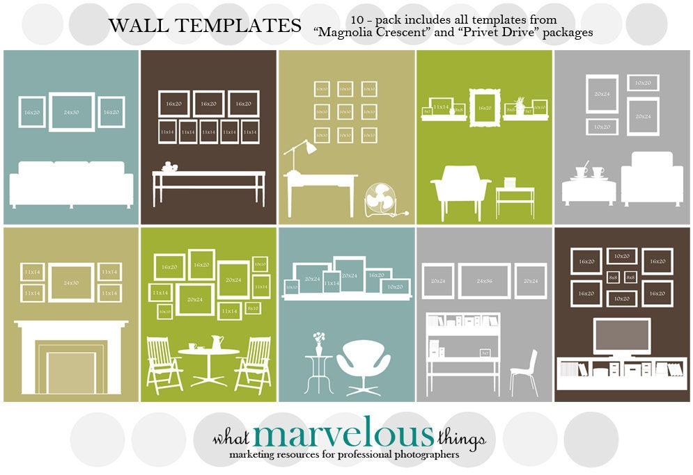 Wall display template 10 pack for Wall templates for hanging pictures