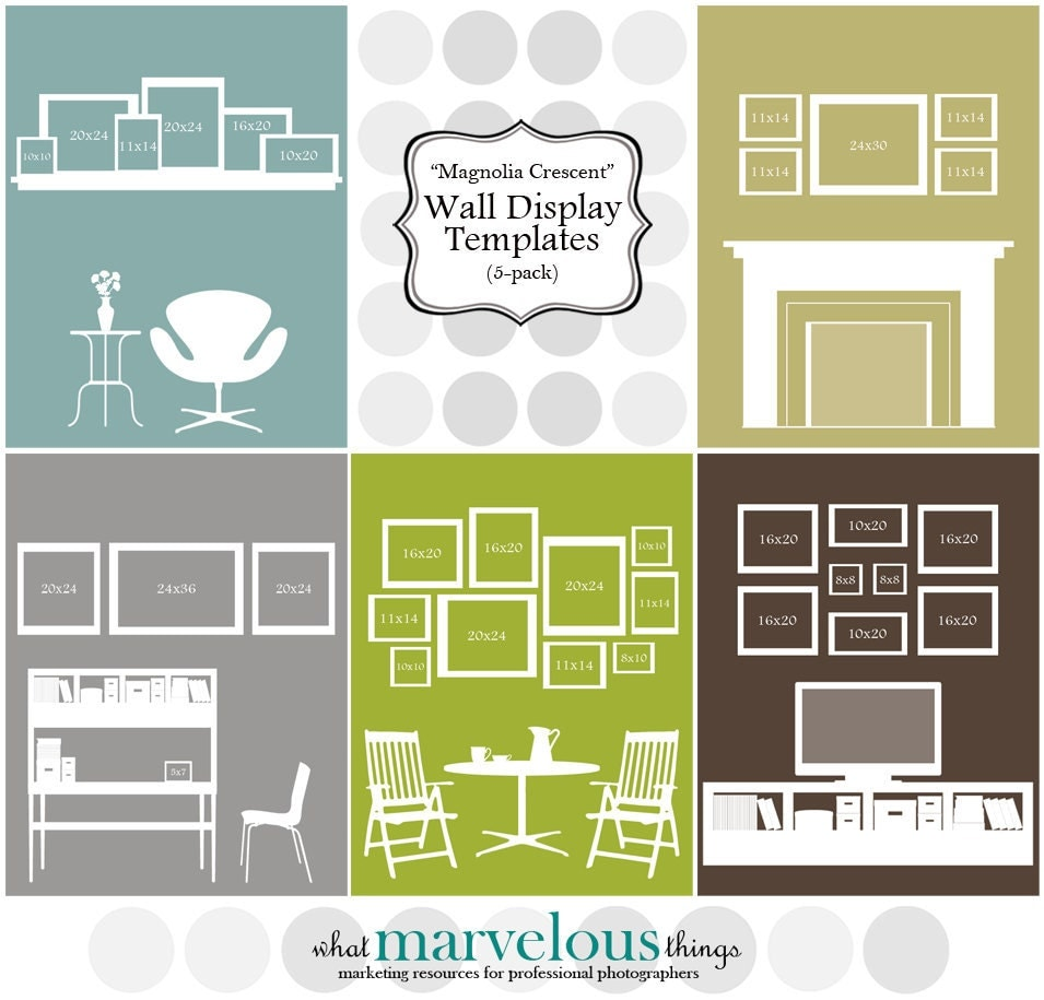 wall display templates magnolia crescent by whatmarvelousthings. Black Bedroom Furniture Sets. Home Design Ideas