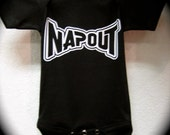 "Boy Black Bodysuit Romper Or T-Shirt ""Napout"""