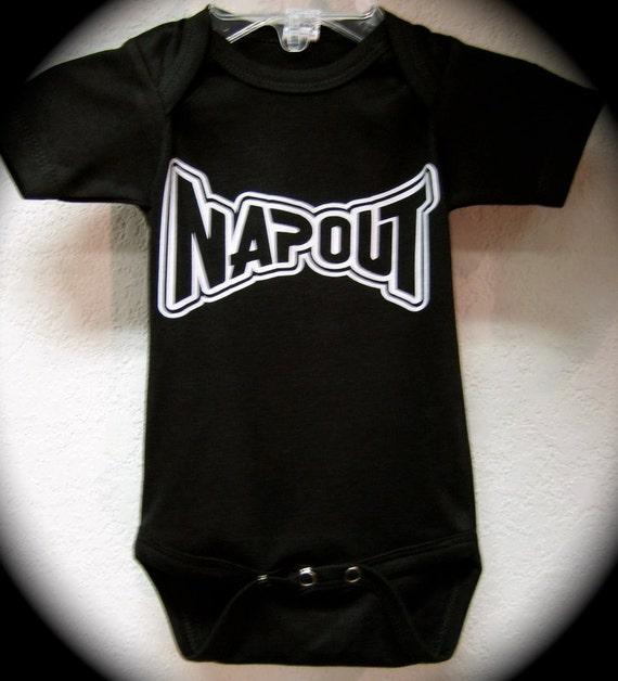 """Boy Black Bodysuit Romper Or T-Shirt """"Napout"""""""