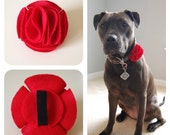 Red Ruffle Flowery Day Felt Accessory for Pet Collars