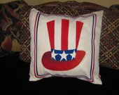 18 X18 inch Handpainted 4th of JulyPillow Cover