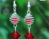 Red Silver Coil Earrings made with genuine LEGO(r) bricks