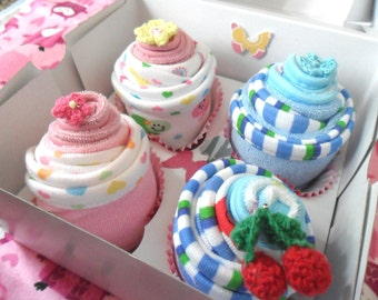 8 Washcloth Cupcake Baby Gift Set