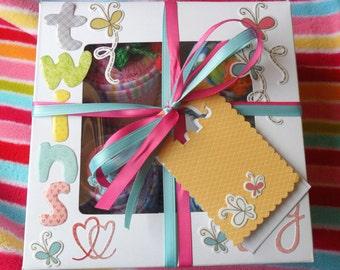 8 Washcloth Cupcake Baby Gift Set Twin Boy & Girl