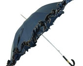 Mary Poppins Blue Ruffled Vintage Umbrella