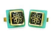 Geeky Cuff Links Mad Scientist Hydrogen Atomic Turquoise