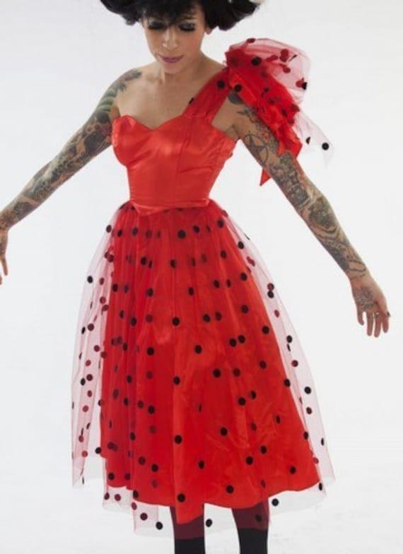 SALE Ladybug Polkadot Gunne Sax Party Dress