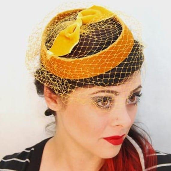 Gold Velvet Netted Halo Hat