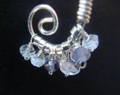 Spiral earrings - sterling silver and gemstones
