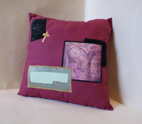 BIRTHDAY SALE! Jane Austen Pillow. Northanger Abbey Quote. Dark Red Cotton Cushion