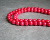Bead Riverstone- Hot Pink- 8mm- round- 16 inch strand- 50 beads aprox.