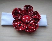 4 inch Red & White Polka Dot Fabric Flower with Headband for Infants and Toddler Girls