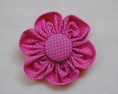 Custom Order for Christina - Hot Pink Dotted Swiss 3 inch Hand Sewn Fabric Flower Clip for Toddlers, Girls, Teens or Women