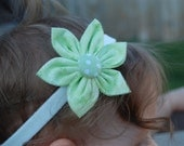 3 inch Hand Sewn Mint Green Fabric Flower with Headband for Infants or Toddlers