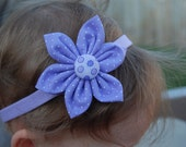 3 inch Hand Sewn Lavender Swiss Dot Fabric Flower with Headband for Infants or Toddlers